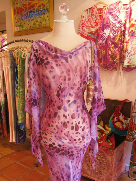 Calneck Dress in Robert Cavali Purple Chiffon