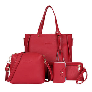 Set Four-Piece Shoulder Bag Tote Messenger Purse Bag