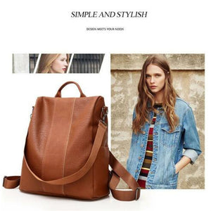 Anti-theft Backpack Classic PU Leather