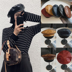 Load image into Gallery viewer, Beret Solid PU Leather