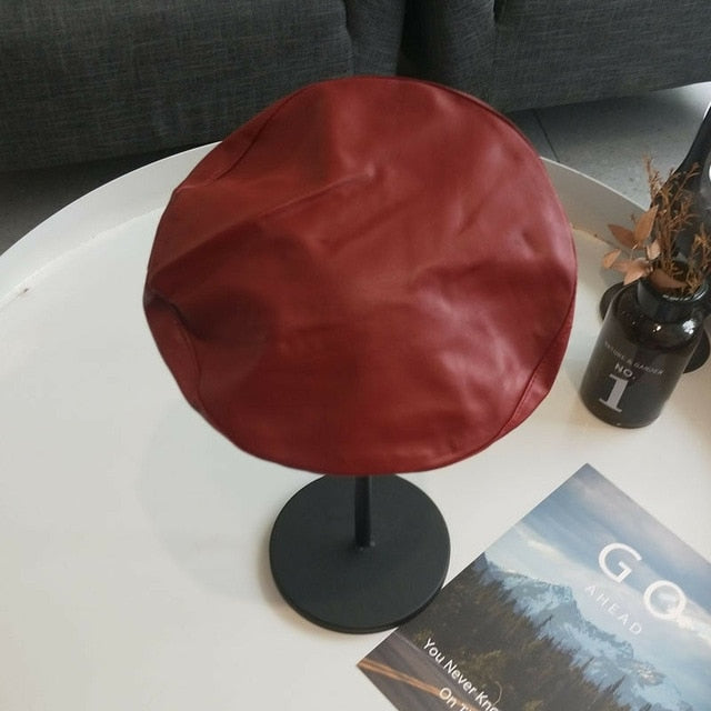 Beret Solid PU Leather