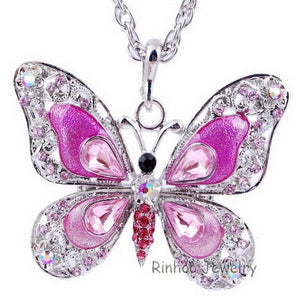 New Fashion Hip Enamel Crystal Butterfly Pendant Long Necklace