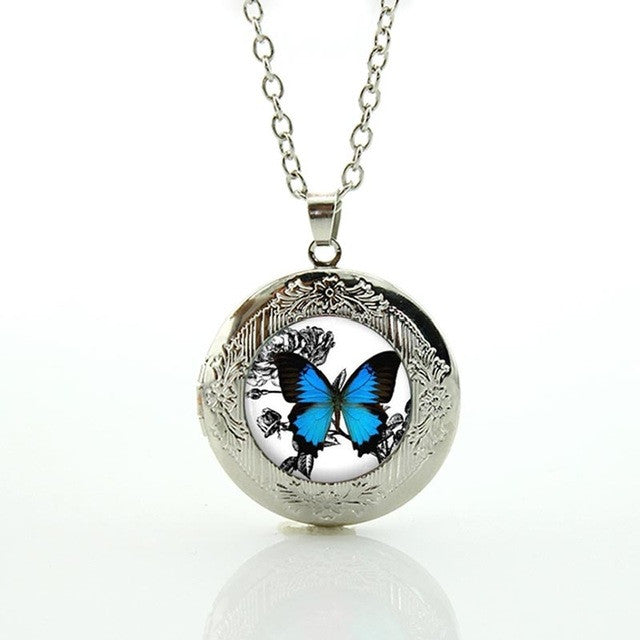 Vintage Blue Butterfly Necklace