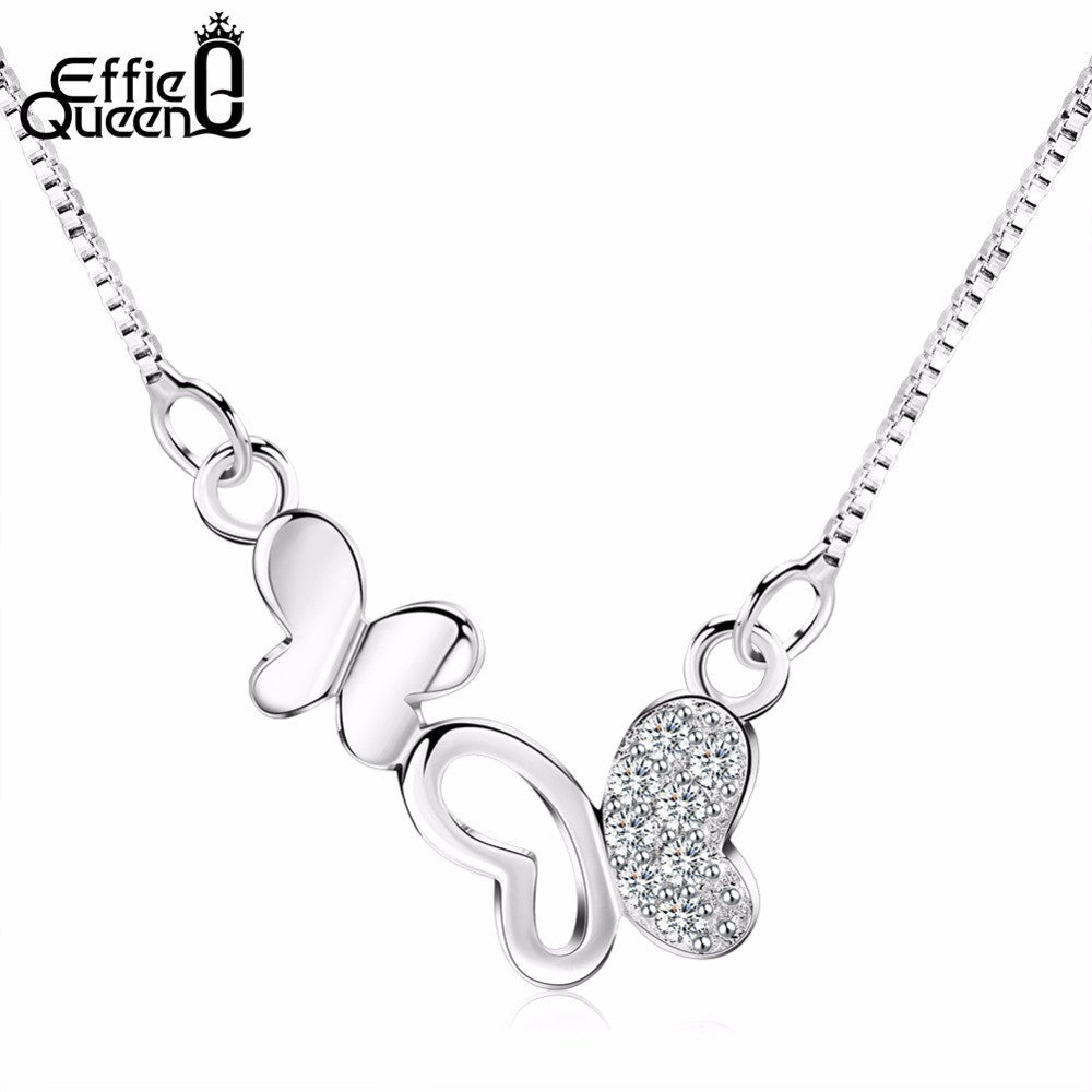 Fashion Cubic Zircon Paved Butterfly Necklace