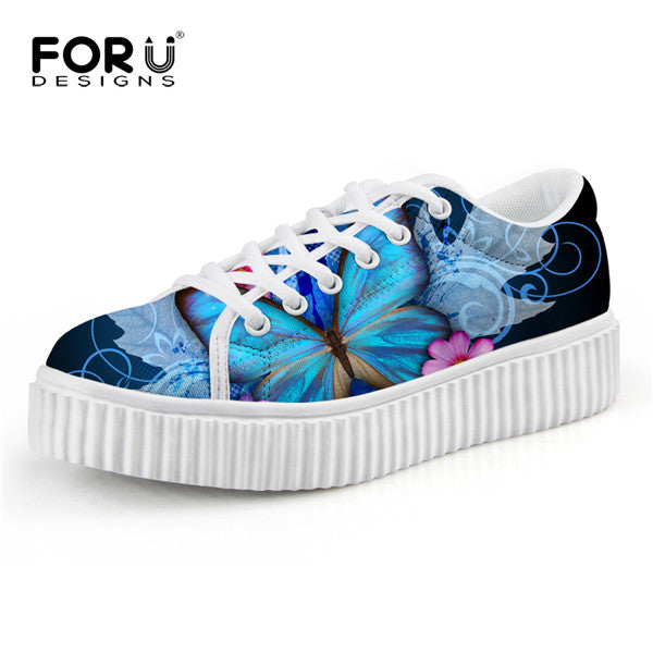 Butterfly Printed Creepers Shoes Breathable Lace-up