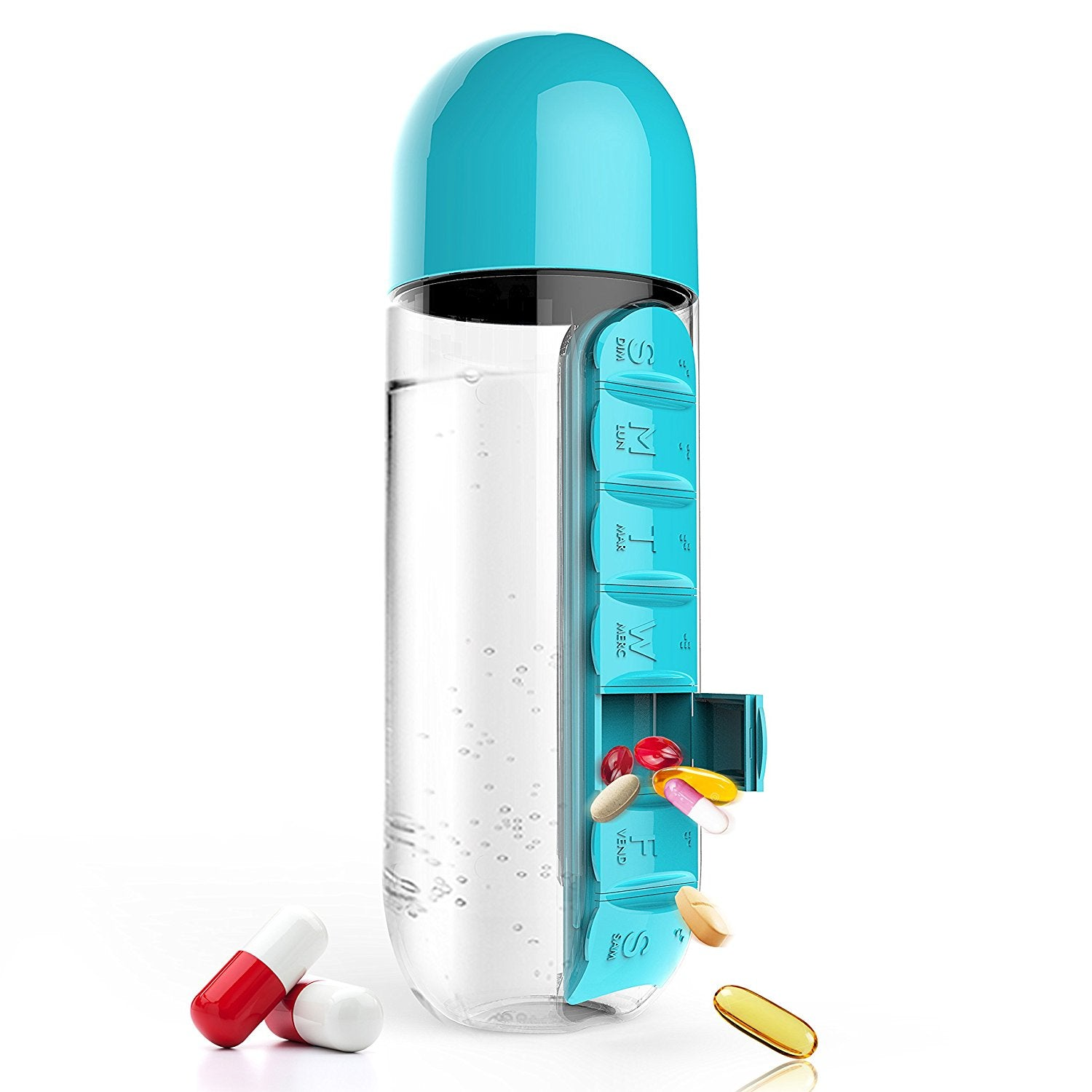 600ML Plastic Water Bottle With Daily Pill Box