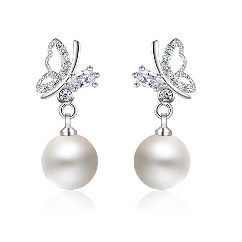 New Brand Beautiful Butterfly with Pearl Earring – Our Style Fashion