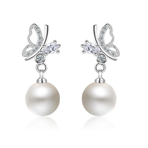 New Brand Beautiful Butterfly with Pearl Earring