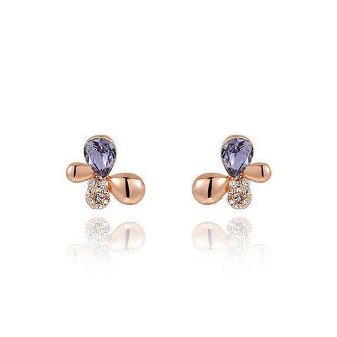 Stud Earrings for casual dress Purple Crystal