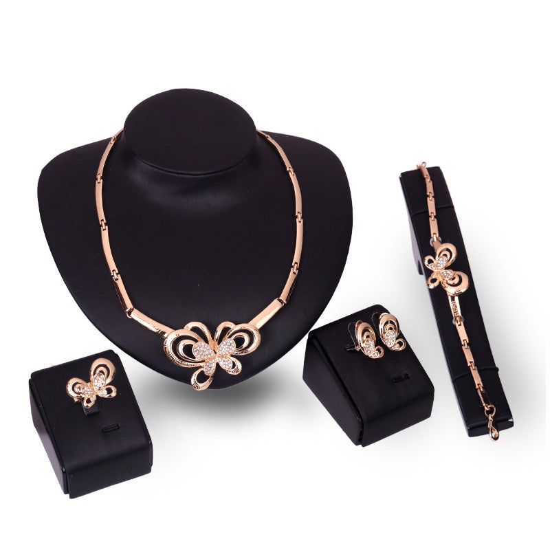 Butterfly Set Gold Color Simple Crystal Rhinestone