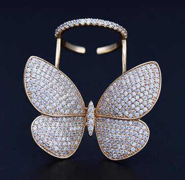 Luxury Cubic Zirconia Movable Butterfly Rings
