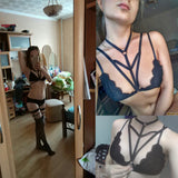 2018 New Fashion Bra with Black Sexy Lace Bralette Cross Straps