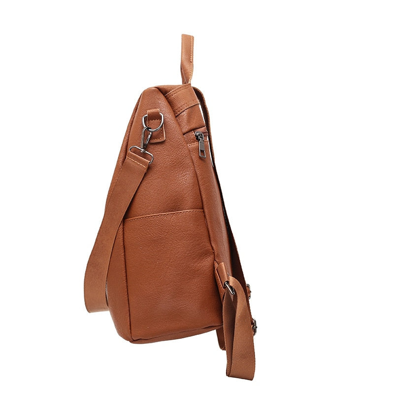 Premium leather anti-thief backpack