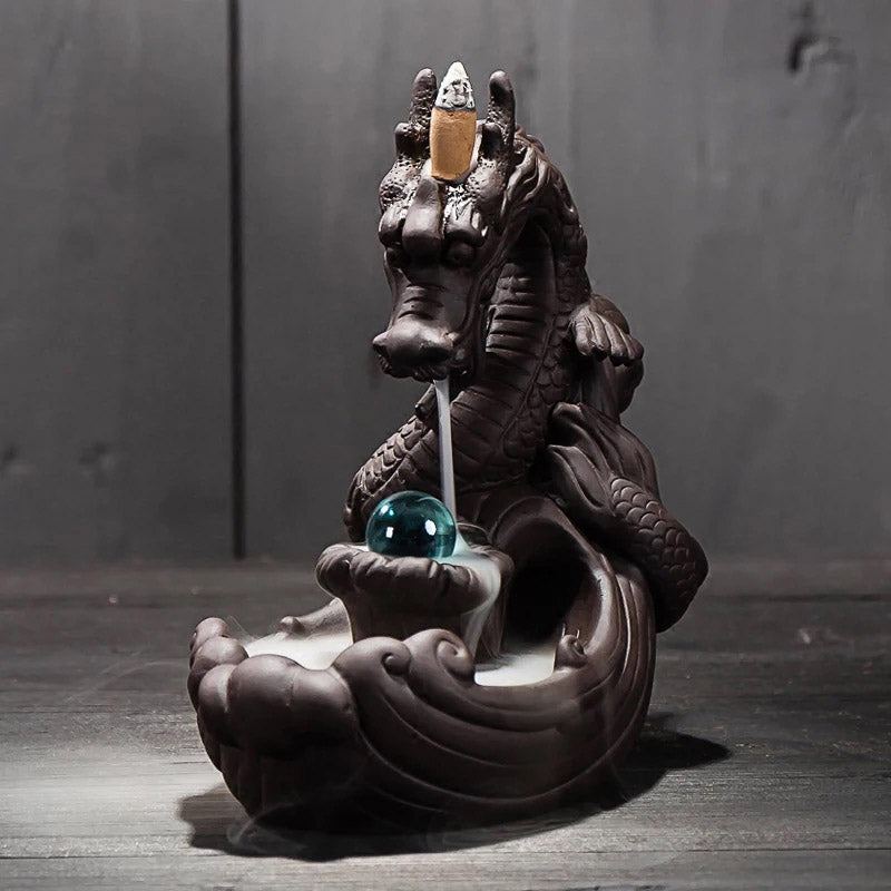Ceramic Dragon Incense Burner + 20Pcs Incense Cones