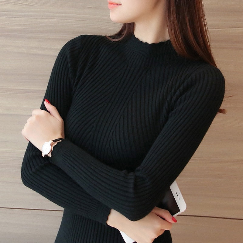 Knitting Sweaters Solid Color Turtleneck