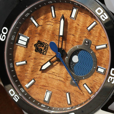 The Castaway Koa Wood Watch (copper & leather)