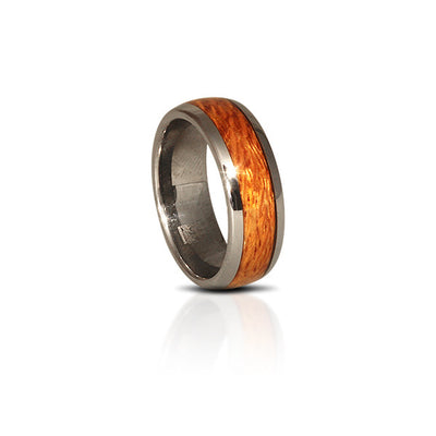 Tungsten Hawaiian Silky Oak Wood Ring (6 & 8mm Wide)