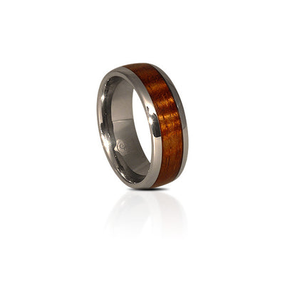 Tungsten Koa Wood Ring (Round Profile)(6 & 8mm Wide)