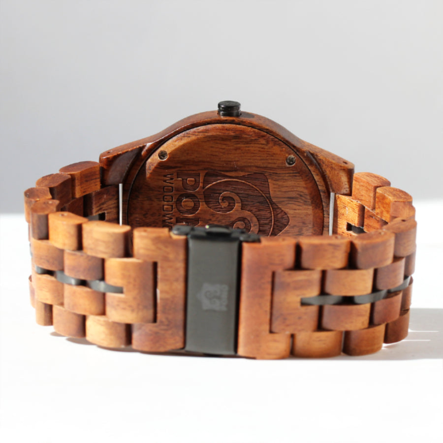 Koa Solid Wood Watch, Round, Metal Band Stringer