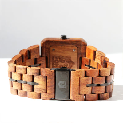 Koa Solid Wood Watch, Square Face, Gunmetal Band Stringer