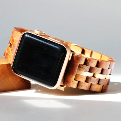 Koa Wood iWatch Band (22 & 24mm Widths)(Silver, Rose-Gold, Gunmetal)