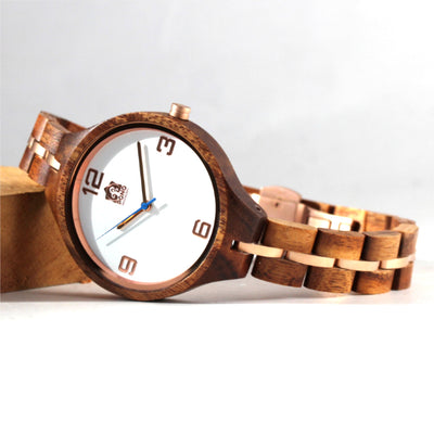 Women's Koa Solid Wood Watch, Round White Face