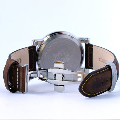 The Waterman Koa Wood Watch (47mm, Chrome, Brown, Black and Navy Leather Band)