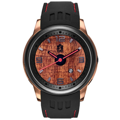 Fissure 8 Koa Wood Watch (Rose-Gold & Lava Color)