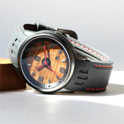 Fissure 8 Koa Wood Watch (Black Lava Rock Color)