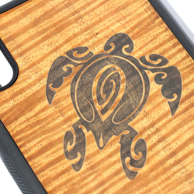 Koa Wood Phone Case, Tribal Honu Design, All Models