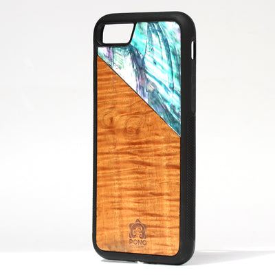 Koa and Ice Blue Angel Wing Abalone Phone Case