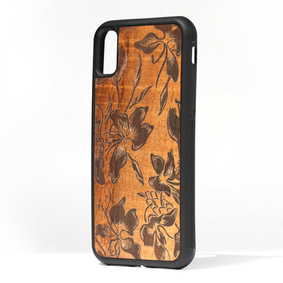 Koa Wood Phone Case, Flowers Design, All Models