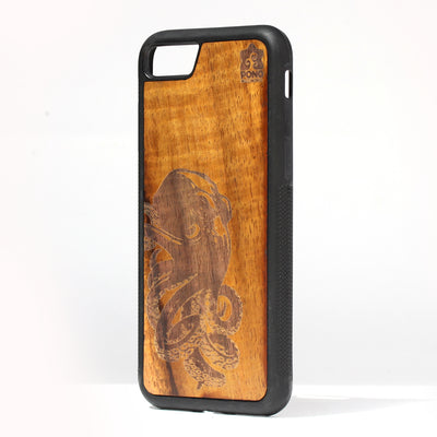 Koa Wood Phone Case, Octopus Design, All Models