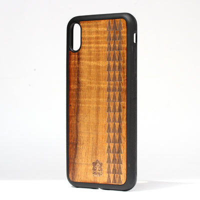 Koa Wood Phone Case, Tribal Tapa Design, All Models