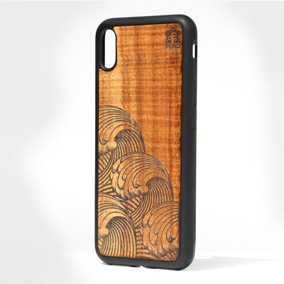 Koa Wood Phone Case, Wave Design, All Models