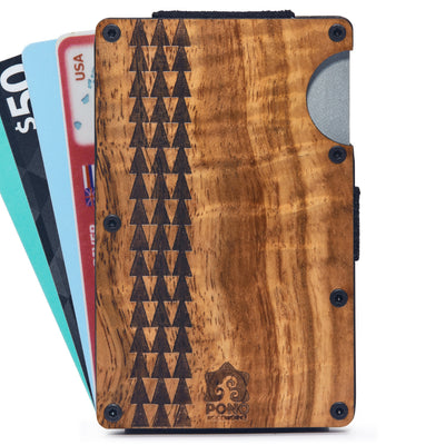 The Minimalist, Koa Wood Wallet w/ Money Clip (Tapa Design)