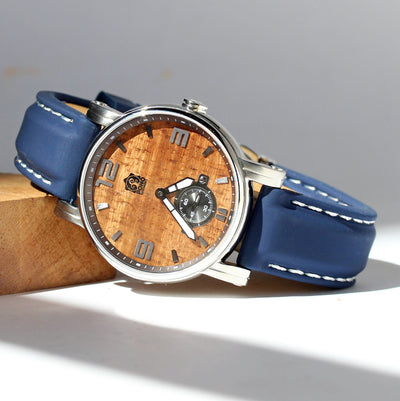 The Waterman Koa Wood Watch (36mm, chrome)
