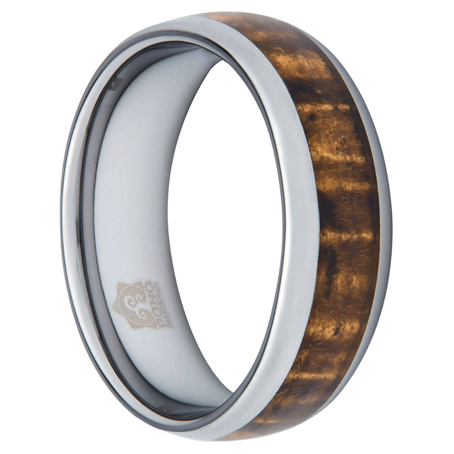 8mm wide Koa Wood and Tungsten Ring