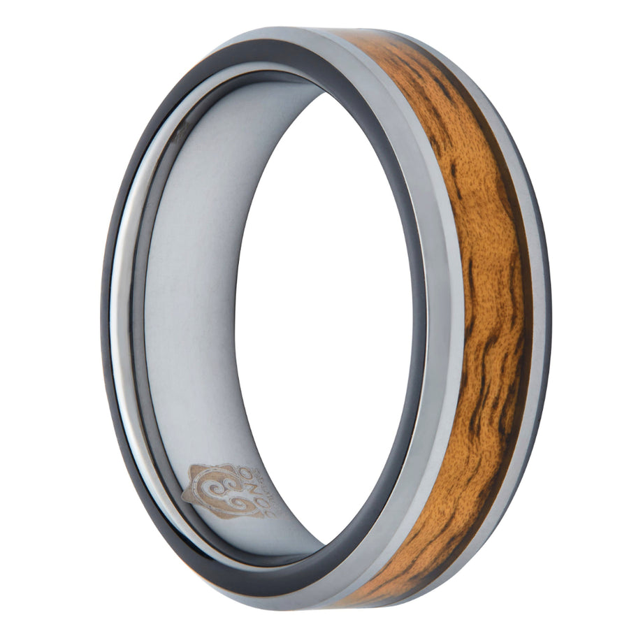 Tungsten Koa Wood Ring (Beveled Edge) (6 & 8mm Wide)