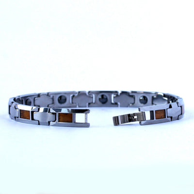 Tungsten Koa Wood Link Bracelet (8 & 10mm Wide)