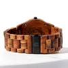 Koa Solid Wood Watch, Round Black Face