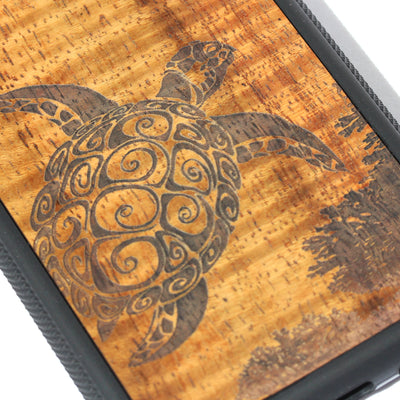 Koa Wood Phone Case, Honu Reef Design, All Models