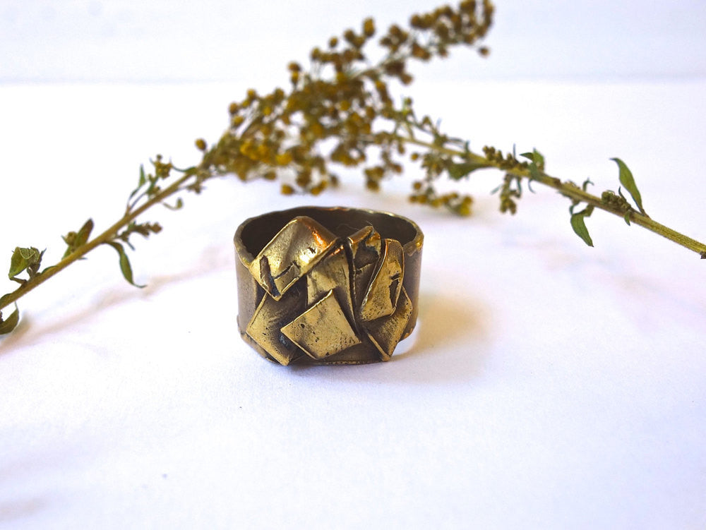 Gold Bronze Origami Folded Cocktail Ring