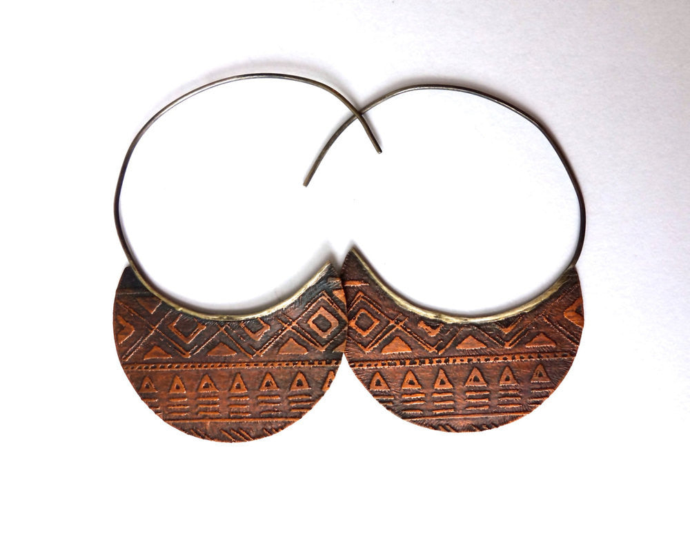 Southwestern Etched Copper Hoops