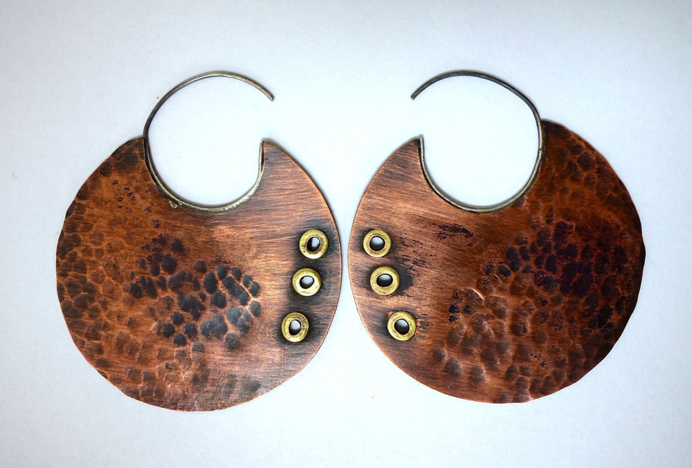 Hammered Copper Tribal Hoops
