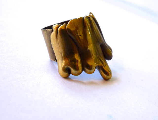 Gold Bronze Drip Cocktail Ring