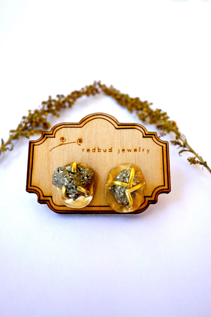 Rough Pyrite Gold Stud Earrings Wholesale