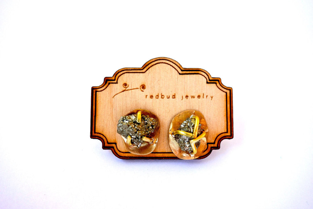 Rough Pyrite Gold Stud Earrings