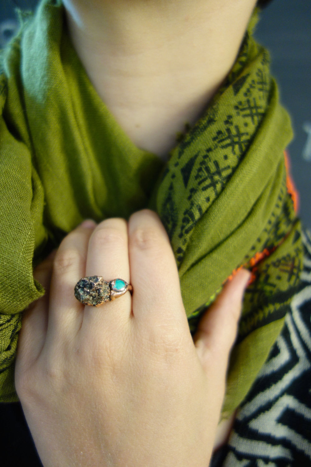 Pyrite and Turquoise Copper Ring