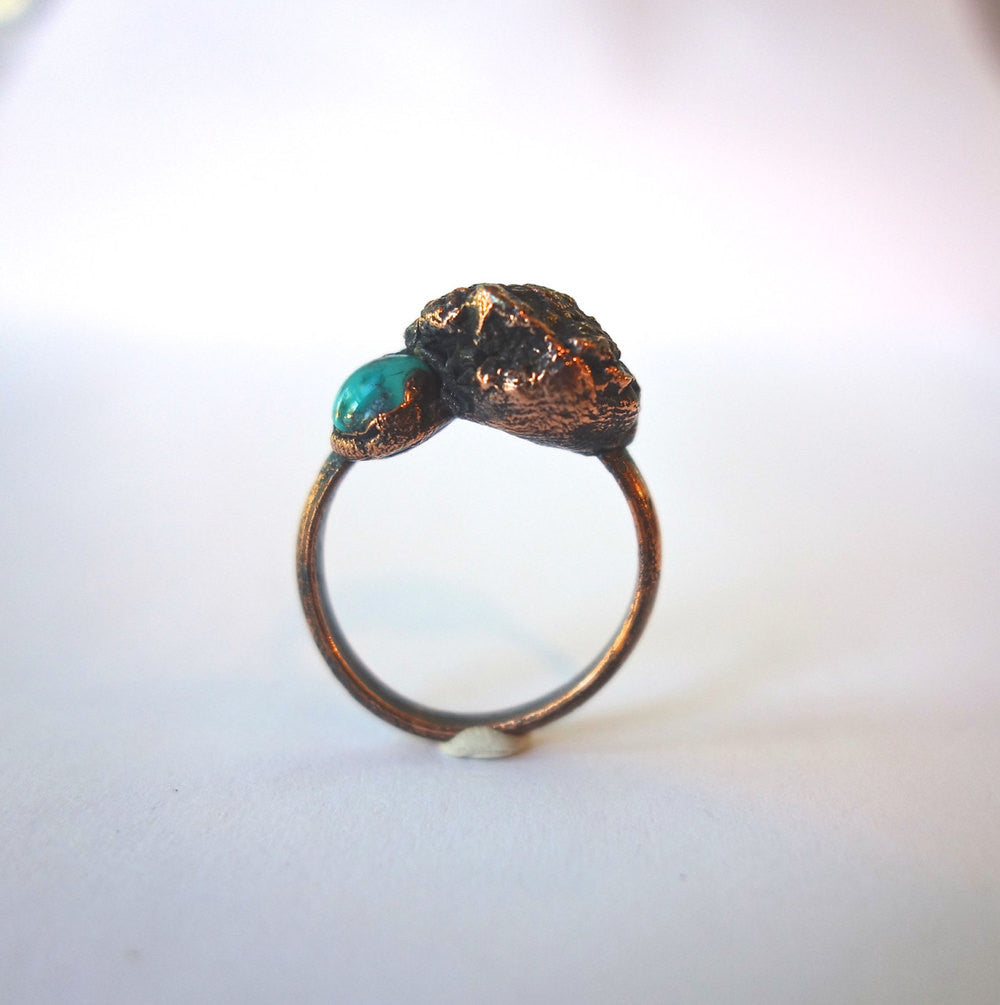 Pyrite and Turquoise Copper Ring Wholesale